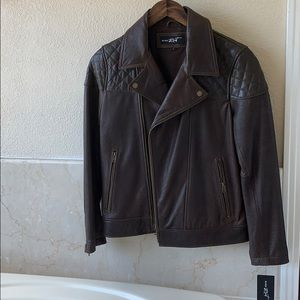 New Black Rivet 100% genuine leather jacket